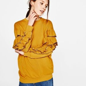 Bershka Oversized Sweater Yellow Ruffle Sweatshirt